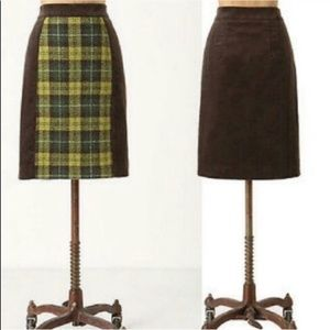 Anthropologie Maeve Mixed Media Plaid Mini Skirt